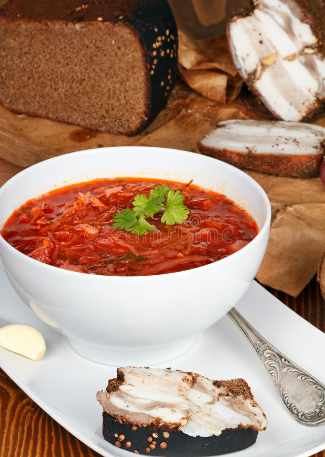Free Borscht With Lard Royalty Free Stock Images - 27216469