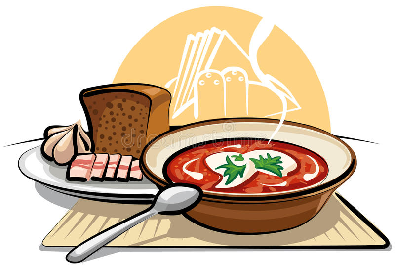 Borschtsuppe und -knoblauch mit Schinken vektor abbildung