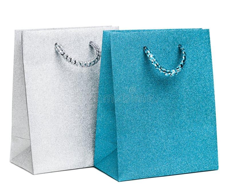 Borse blu e d'argento del regalo immagine stock