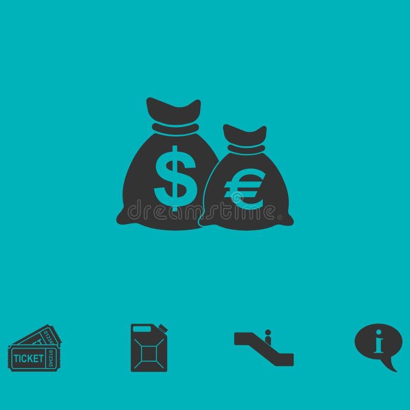 Borse dei soldi con l'icona di simboli di valuta pianamente royalty illustrazione gratis