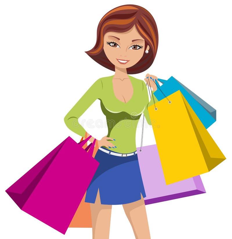 Borse del sacchetto della spesa della donna di modo isolate illustrazione di stock