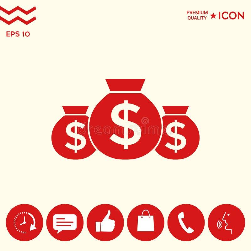 Download Borse Dell'icona Dei Soldi Con Il Simbolo Del Dollaro Illustrazione Vettoriale - Illustrazione di valuta, contanti: 117982170