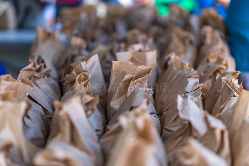 Borse di Brown delle arachidi immagine stock