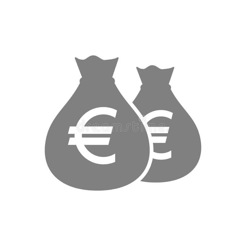 Borse di euro icona del pittogramma dei soldi Icona della borsa dei soldi degli euro Icona del sacco dei soldi illustrazione di stock