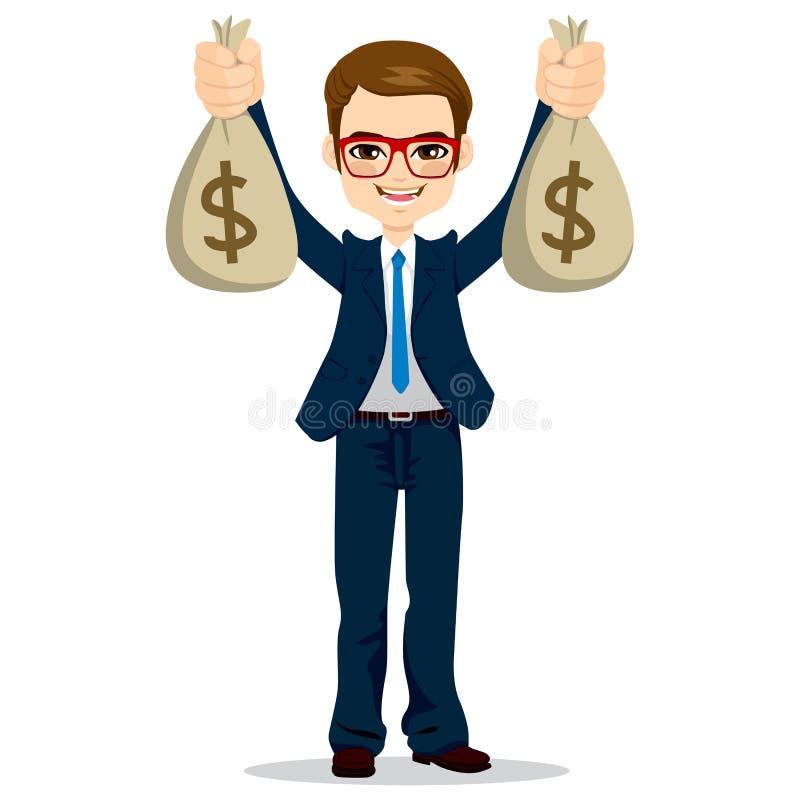 Borse di Holding Dollar Money dell'uomo d'affari royalty illustrazione gratis