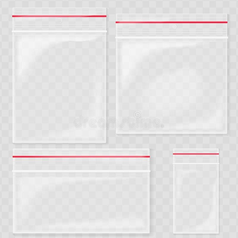 Borse di plastica trasparenti vuote della tasca Borsa in bianco della chiusura lampo di vuoto contenitore del politene messo sui  illustrazione di stock
