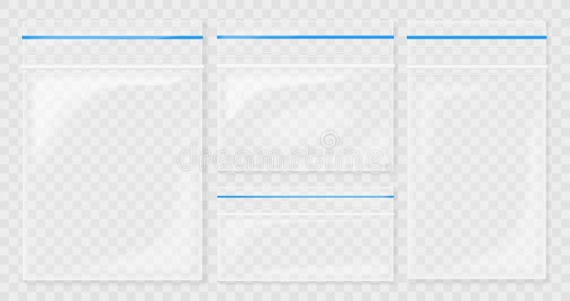 Borse di plastica trasparenti vuote della tasca Borsa in bianco della chiusura lampo di vuoto contenitore del politene messo sui  royalty illustrazione gratis