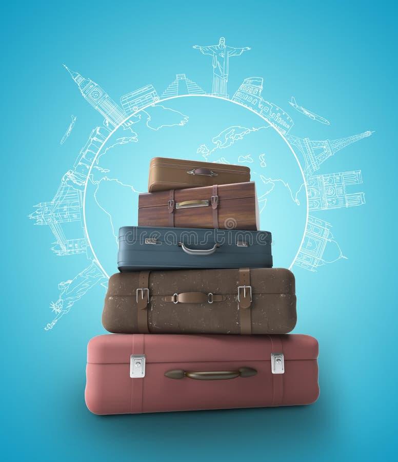 Borse di viaggio fotografie stock libere da diritti