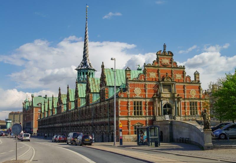 Borsen是一个大厦在中央哥本哈根,丹麦 它是buil 免版税库存图片