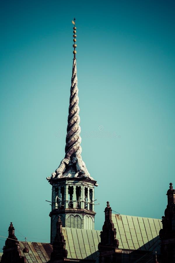 Borsen是一个大厦在中央哥本哈根,丹麦 它由基督徒修造IV在1619 1640并且是旧库存交换  库存图片