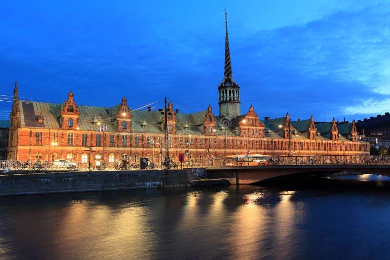 Borsen in Copenhagen. The historic building of Stock exchange with the dragon spire in Copenhagen, Denmark royalty free stock images