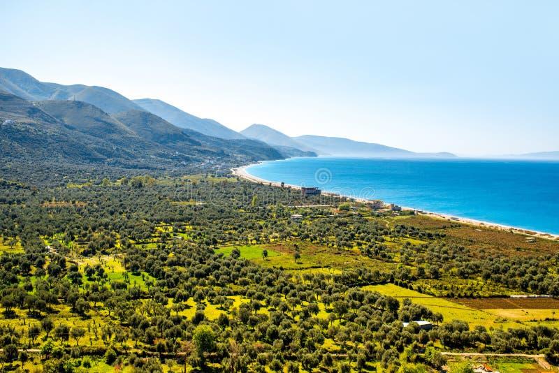 Borsh plaża w Albania obraz stock