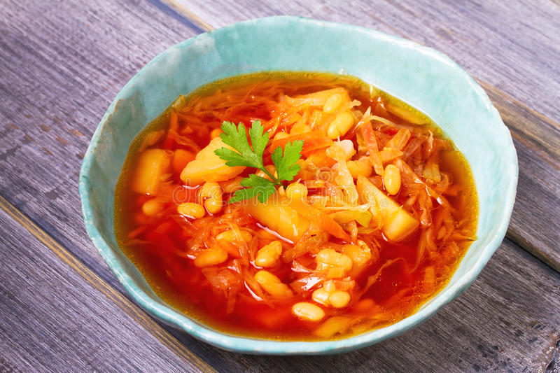 Borsht, bortsch, borshch, borscht. Soup made with vegetables and beets stock images
