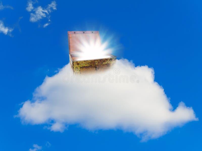 Borst met schat bij wolk royalty-vrije stock fotografie