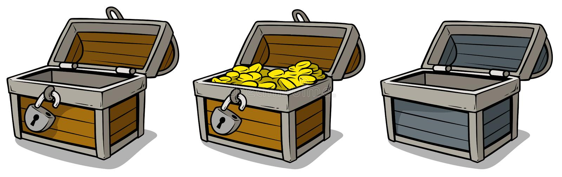 Borst van de beeldverhaal de open schat met gouden geplaatste muntstukken stock illustratie