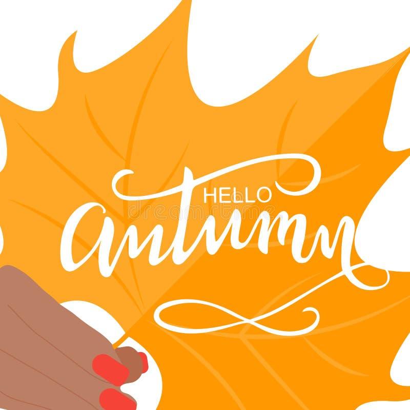 Borsta att märka sammansättning av den Hello hösten royaltyfri illustrationer