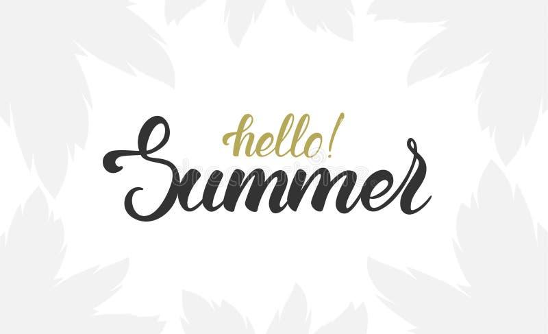 Borsta bokstäver av Hello sommar med den ljusa konturn av palmblad royaltyfri illustrationer