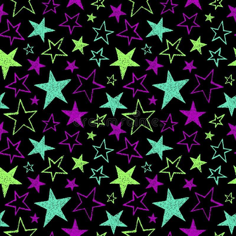 Borsta den utdragna texturerade modellen för vektorn för neonstjärnor sömlösa stock illustrationer