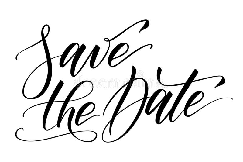 Borsta kalligrafi sparar datumet vektor illustrationer