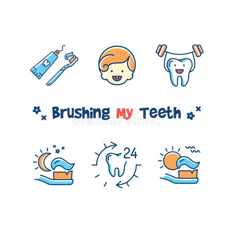 Borsta mitt tandkort, ställde symboler in för tandläkekonst för barn` s Undervisande ungar som borstar deras tänder, tand som bor royaltyfri illustrationer
