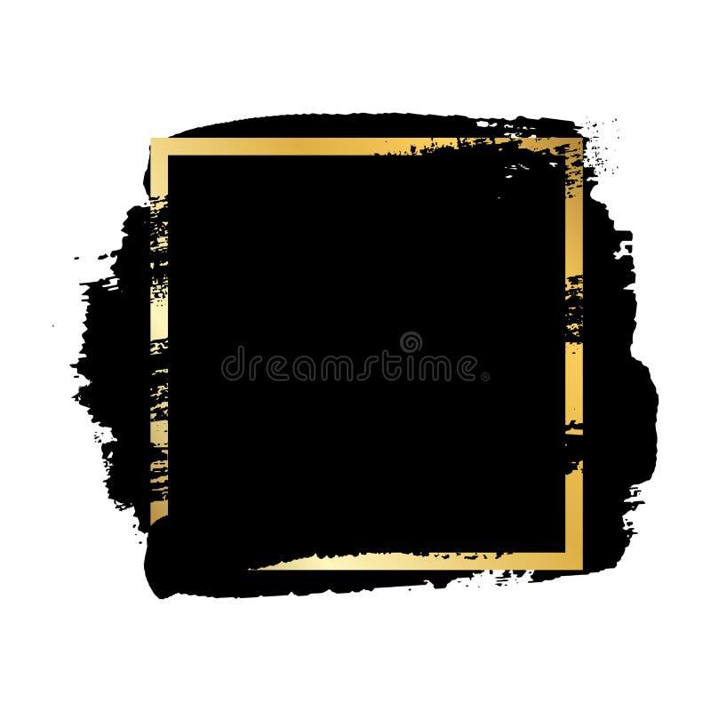 Borsta slagl?ngden, den guld- textasken, isolerad vit bakgrund Svart m?larf?rgborste r F?rgpulverdesign royaltyfri illustrationer