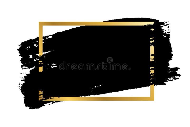 Borsta slagl?ngden, den guld- textasken, isolerad vit bakgrund Svart m?larf?rgborste r F?rgpulverdesign vektor illustrationer
