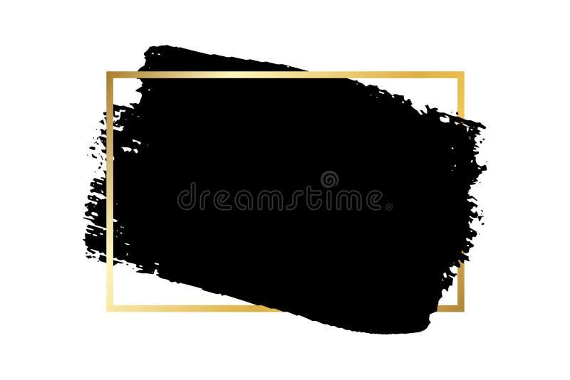 Borsta slagl?ngden, den guld- textasken, isolerad vit bakgrund Svart m?larf?rgborste r F?rgpulverdesign stock illustrationer