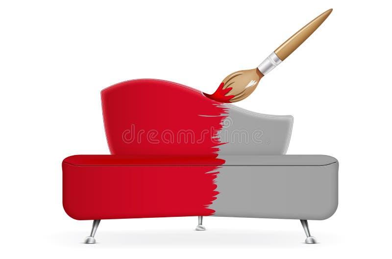 Borsta täcker den röda sofaen vektor illustrationer