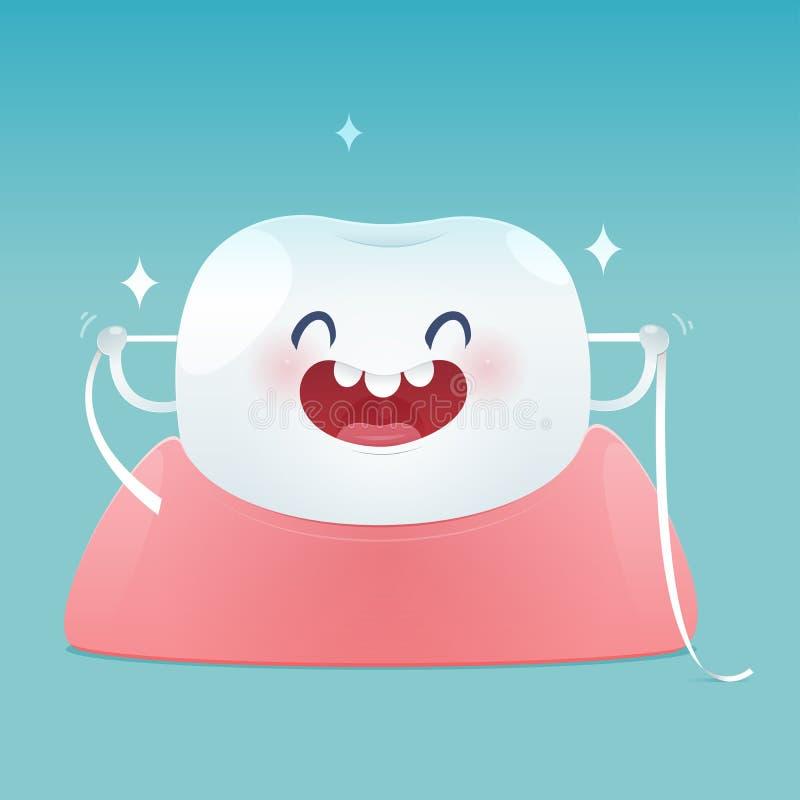 Borsta tänder som flossing, tandtråd vektor illustrationer