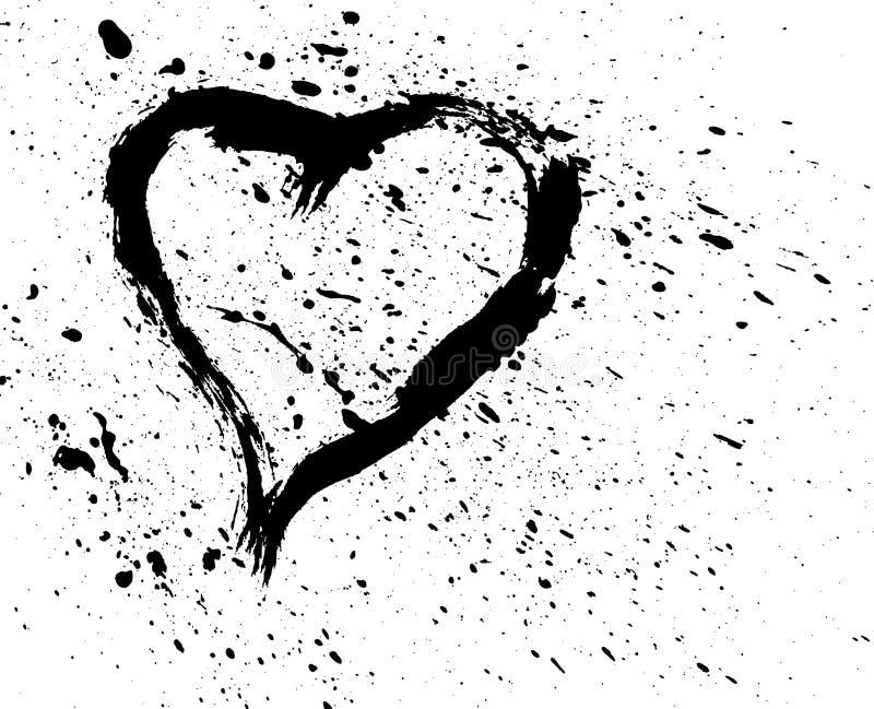 borstad hjärta stänker stock illustrationer