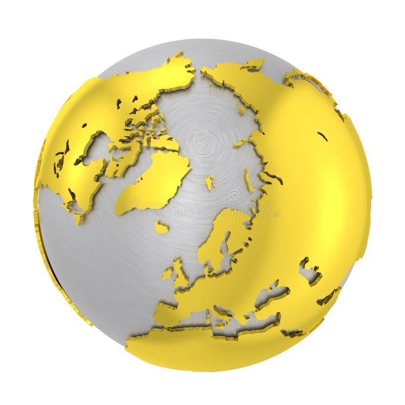 Borstad skorpa för jord för jordklot för stål 3D guld- stock illustrationer