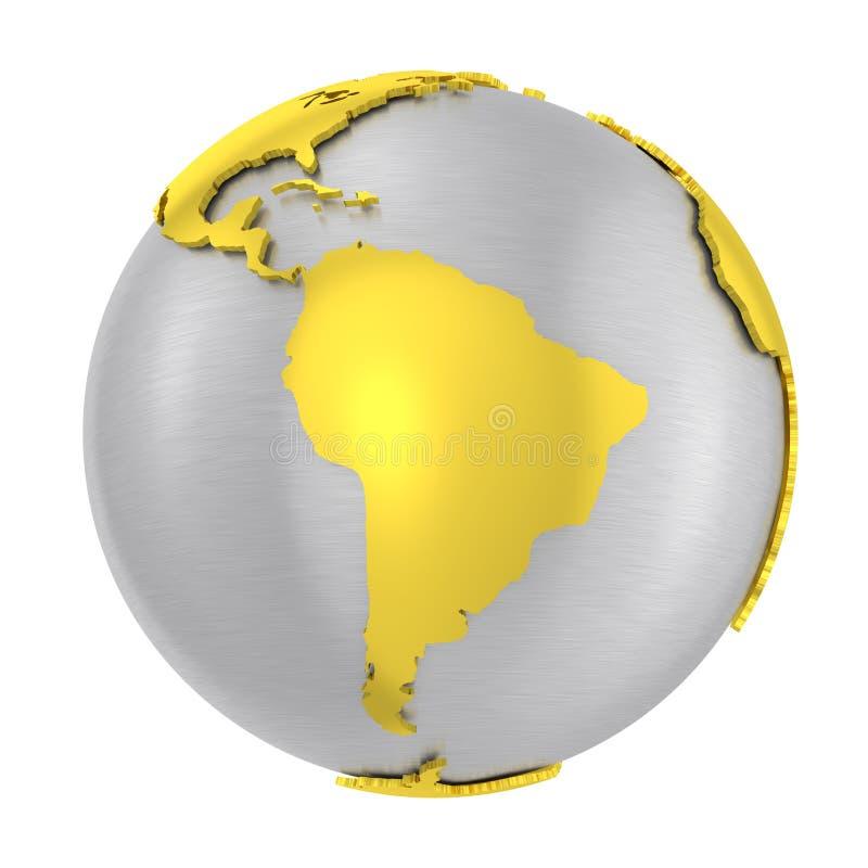 Borstad skorpa för jord för jordklot för stål 3D guld- vektor illustrationer