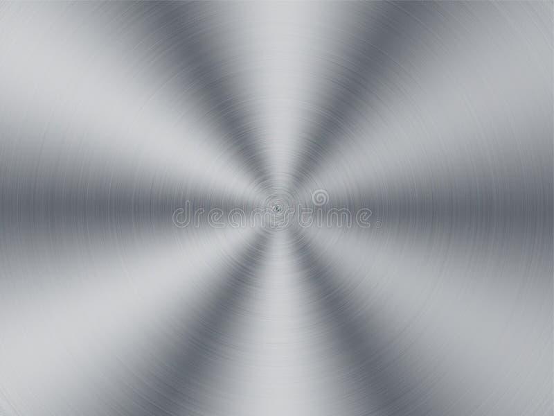 Borstad stålteknologibakgrund med rund polering stock illustrationer