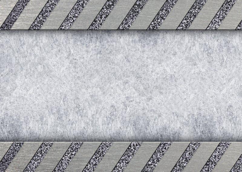 Borstad stor neutral bakgrund för metalltextur, plan yttersida, 3d royaltyfri illustrationer