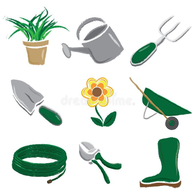 borstade arbeta i trädgården symboler