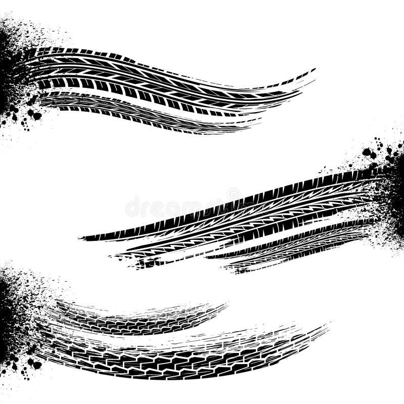 Borstade gummihjulspår vektor illustrationer