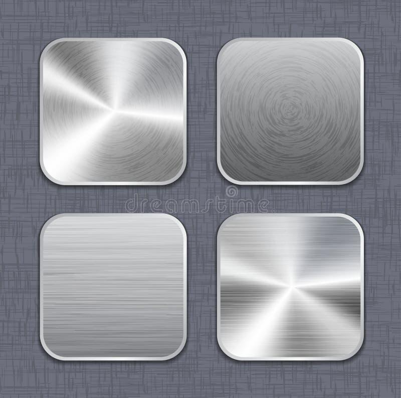 Borstade mallar 2 för metallapp-symbol royaltyfri illustrationer