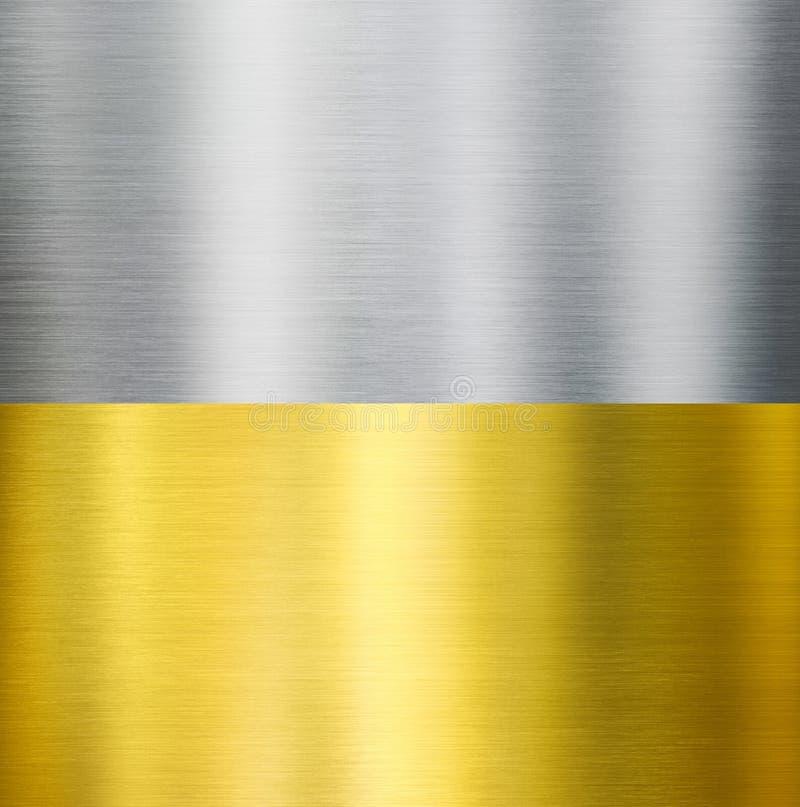 Borstade texturer för guld och för silver metall royaltyfri bild