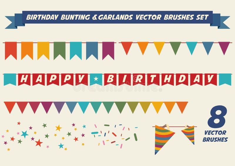 Borstar för födelsedaggirlandvektor royaltyfri illustrationer