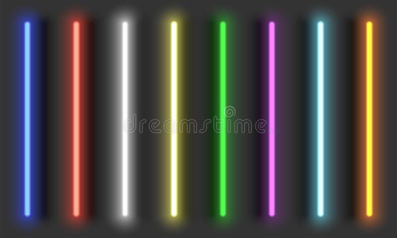 Borstar för neonljus med skuggor, fullständigt justerbara olika beståndsdelar för färgneondesign vektor illustrationer