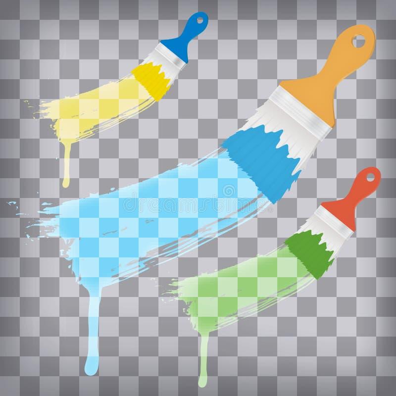 Borstar med målarfärgfärgstänk på rutig bakgrund stock illustrationer