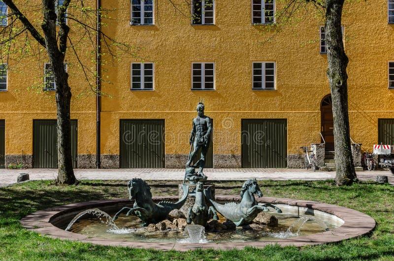 Borstay omr?de, Munich, Tyskland per fantastiskt omr?de av staden, husen och borgg?rdarna arkivfoto