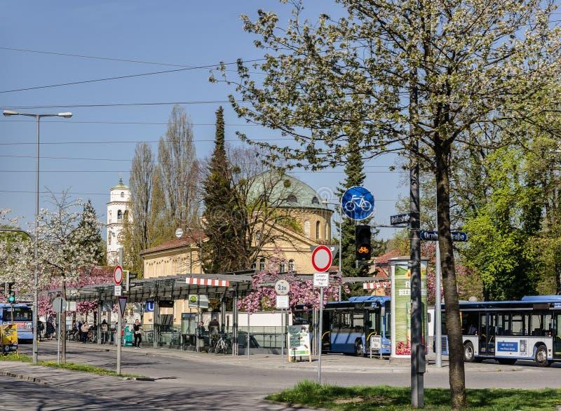 Borstaydistrict, M?nchen, Duitsland een verbazend gebied van de stad, de huizen en de binnenplaatsen royalty-vrije stock afbeelding