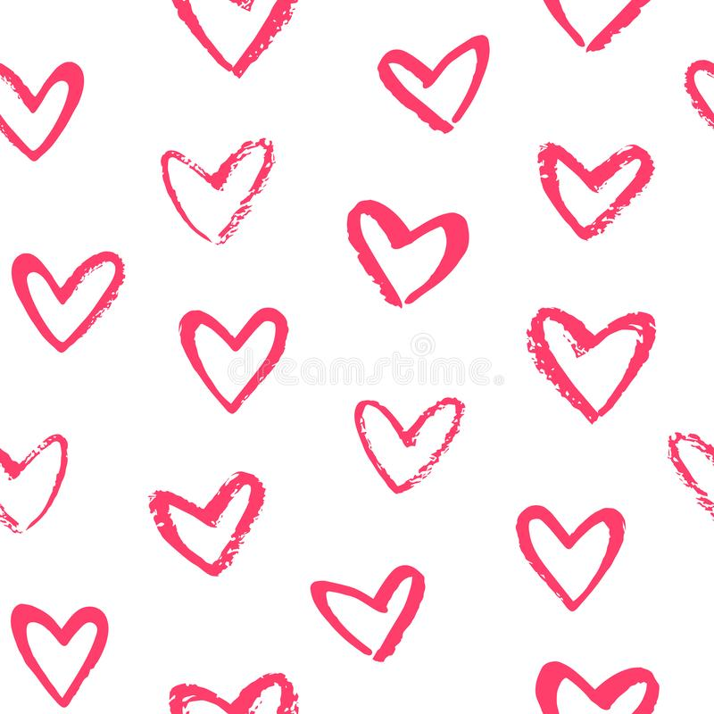 Borste dragen modell för dag för valentin för klotterstilhjärtor sömlös stock illustrationer