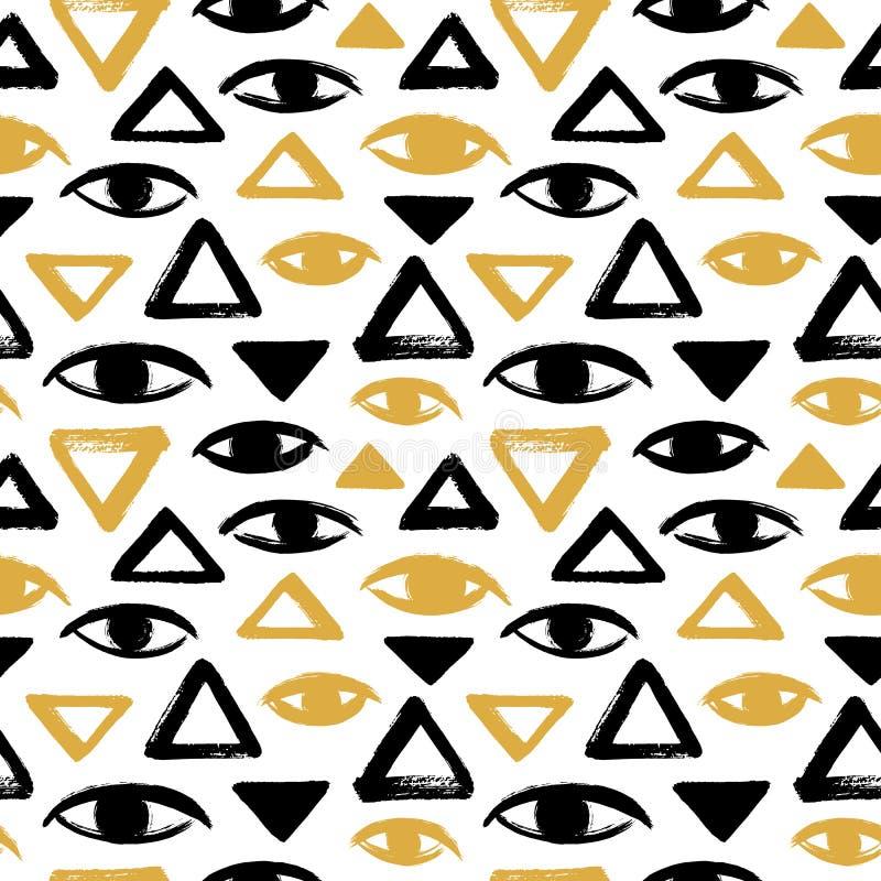 Borste drog ögon och sömlös vektormodell för trianglar stock illustrationer