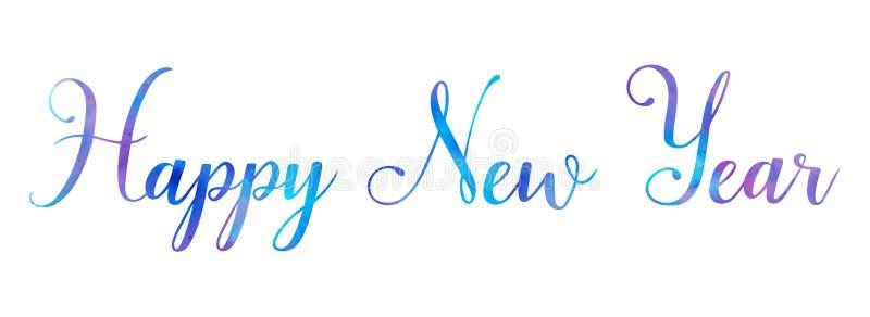 Borste för lyckligt nytt år för vektorvattenfärg som ljus märker text på vit bakgrund, för för hälsningar, kort som annonserar, b royaltyfri illustrationer