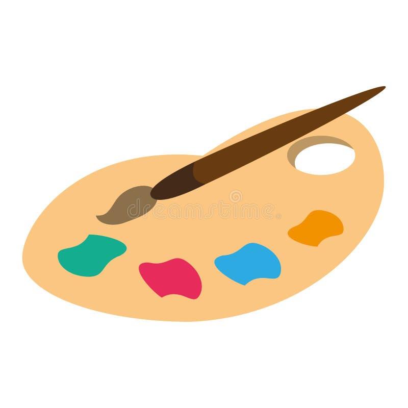 Borste för palettfärgmålarfärg vektor illustrationer