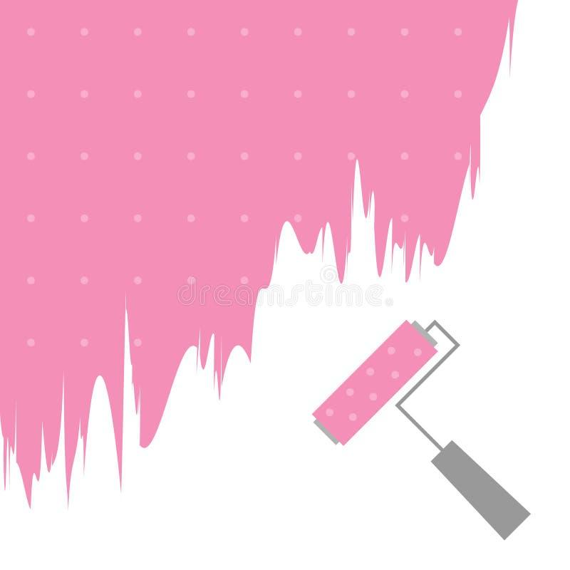 Borste för rulle för rosa färgprickmålarfärg för text på väggen stock illustrationer