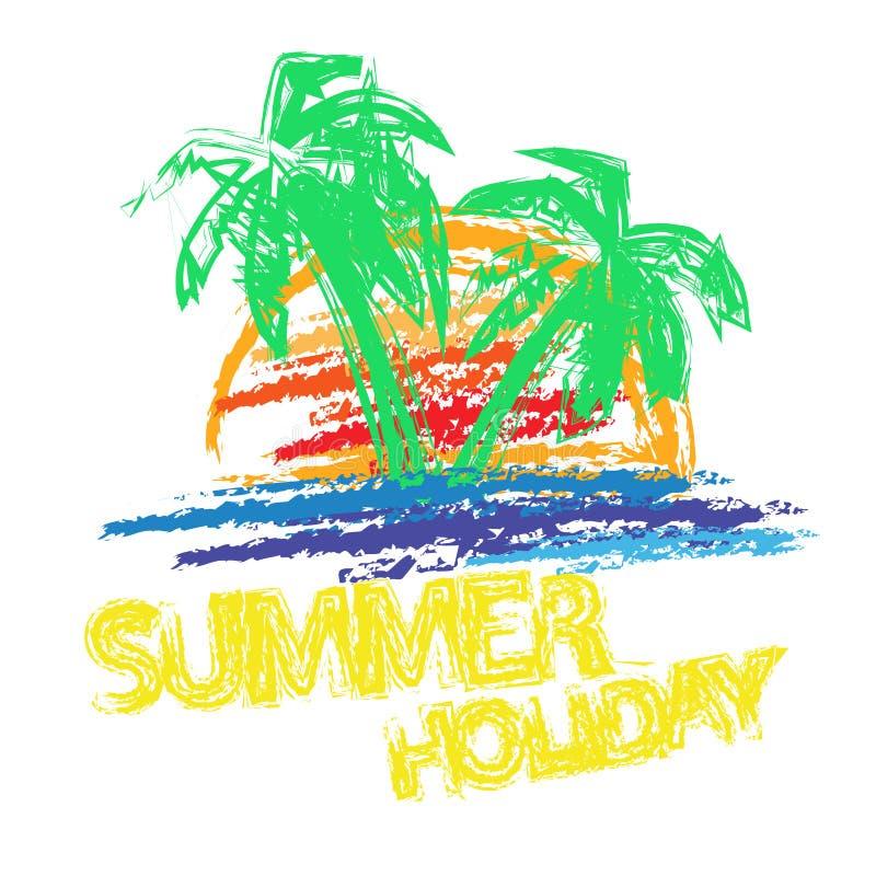 Borste för sommarferie royaltyfri illustrationer