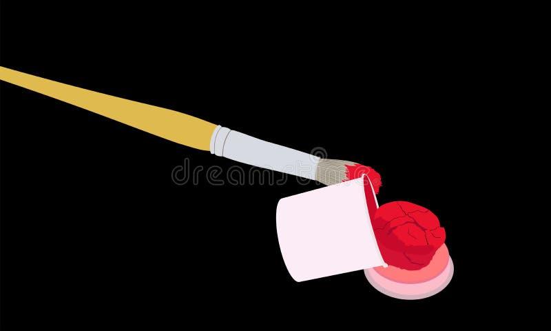 Borste i den röda målarfärgen och ett öppet tenn av målarfärg stock illustrationer